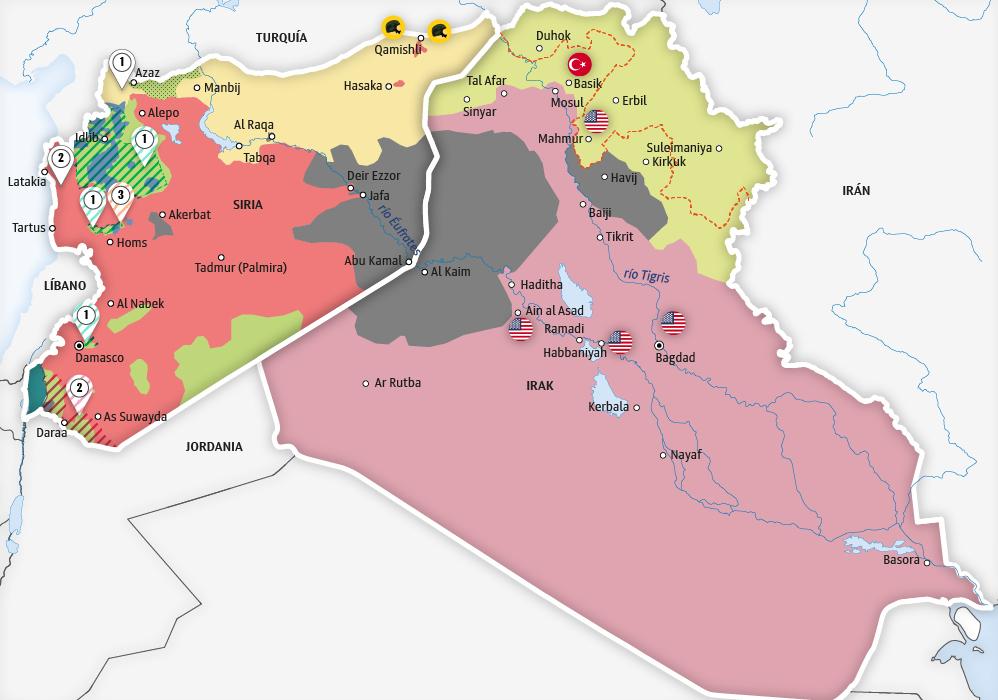 siria mapa El mapa de las operaciones antiterroristas en Siria e Irak  siria mapa